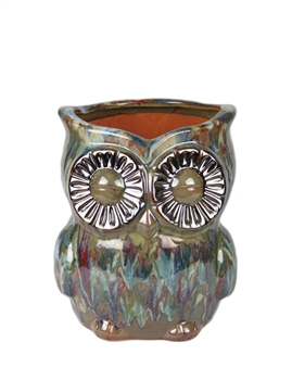 Large Ceramic Owl Planter Blue Green